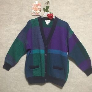 1VTG HASTING & SMITH LG COLOR BLOCK CARDIGAN